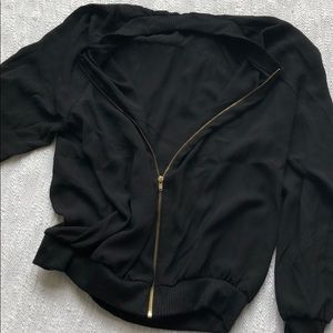 Jackets & Coats - Black jacket with intricate gold skull